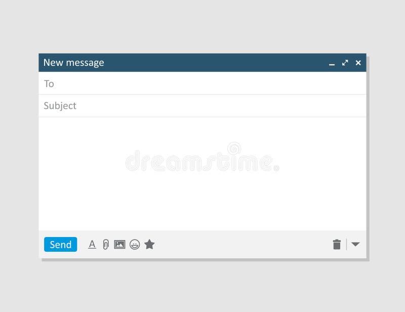 Интерфейс рамки почты интернета шаблона пробела электронной почты для сообщения почты иллюстрация штока