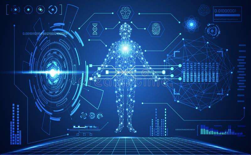 Интерфейс hud ui абстрактной технологии футуристический человеческий медицинский ho иллюстрация штока