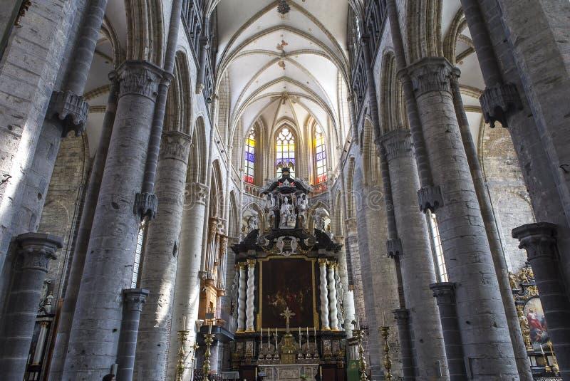 Интерьеры церков St Nicholas, Гента, Бельгии стоковое изображение