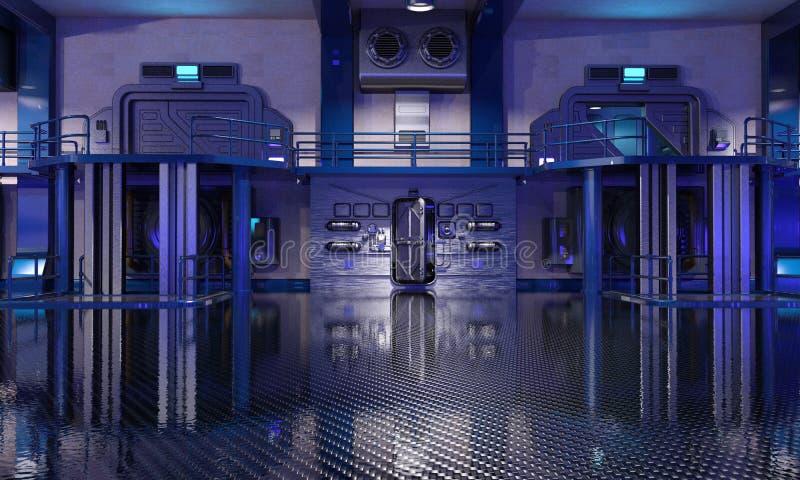 Интерьер ангара научной фантастики голубой иллюстрация вектора