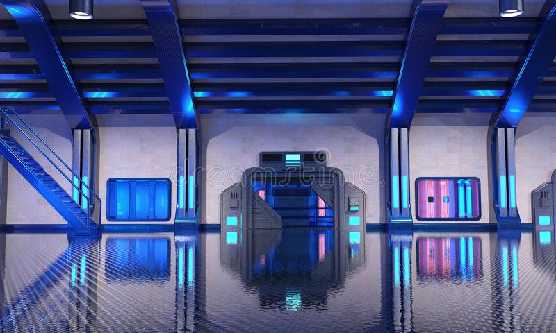 Интерьер ангара научной фантастики голубой иллюстрация штока