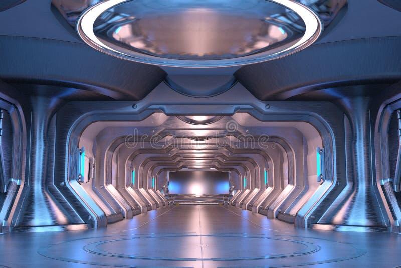 Интерьер ангара научной фантастики голубой бесплатная иллюстрация