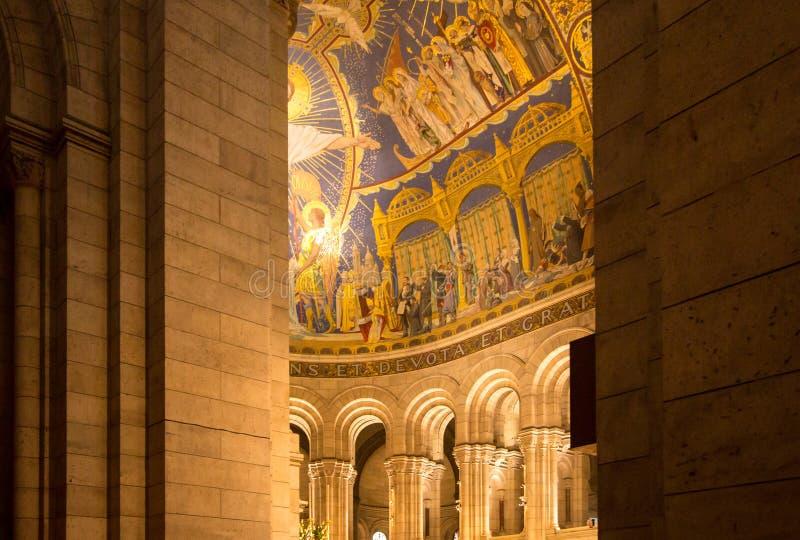 Интерьер базилики Sacre Coeur, Парижа, Франции стоковое фото rf