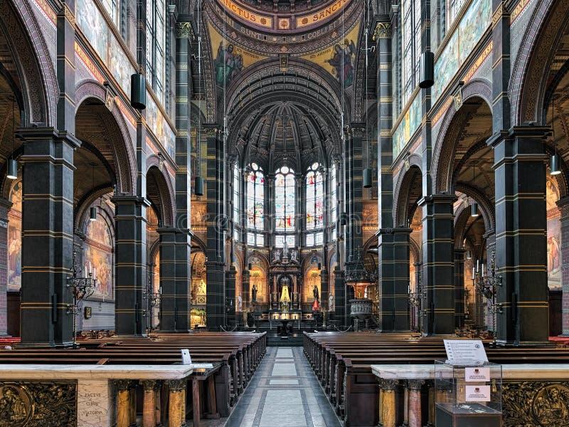 Интерьер базилики St Nicholas в Амстердаме, Нидерландах стоковое фото rf