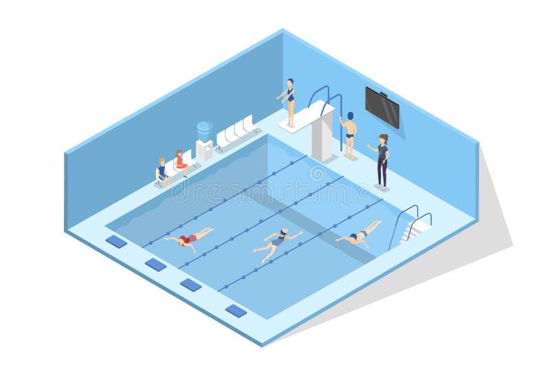Интерьер бассейна в школе ребенок учя swim к иллюстрация штока