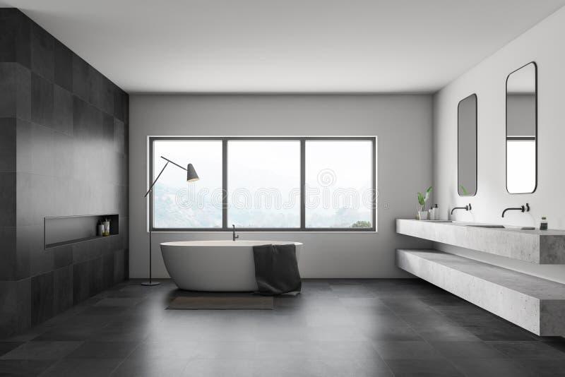 Интерьер белых и плитки bathroom, ушат и раковина иллюстрация штока