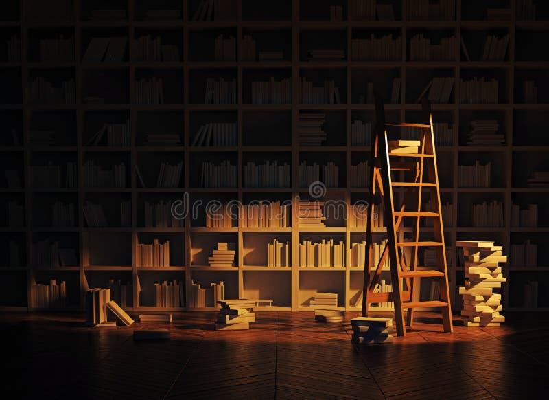 Интерьер библиотеки иллюстрация штока