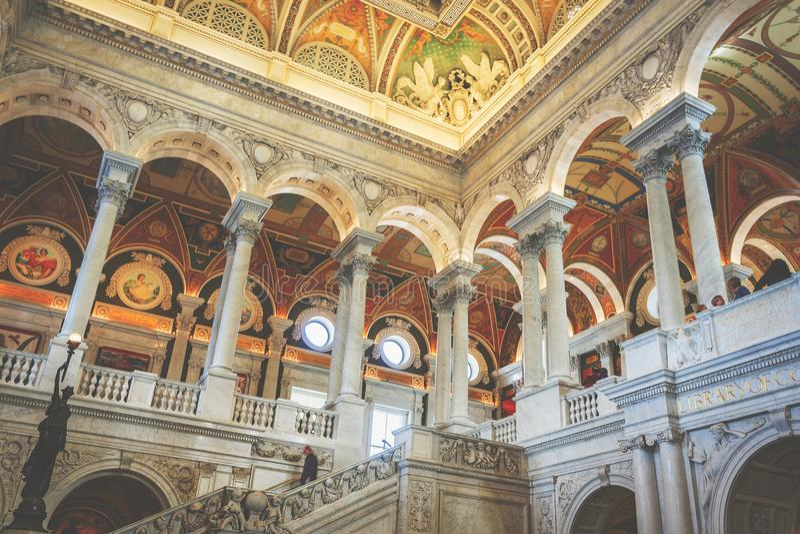 Интерьер большого зала Библиотеки Конгрессаа в Вашингтоне d C , США стоковое фото rf