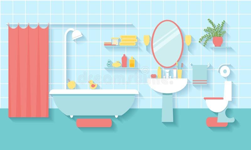 Интерьер ванной комнаты в плоском стиле иллюстрация вектора