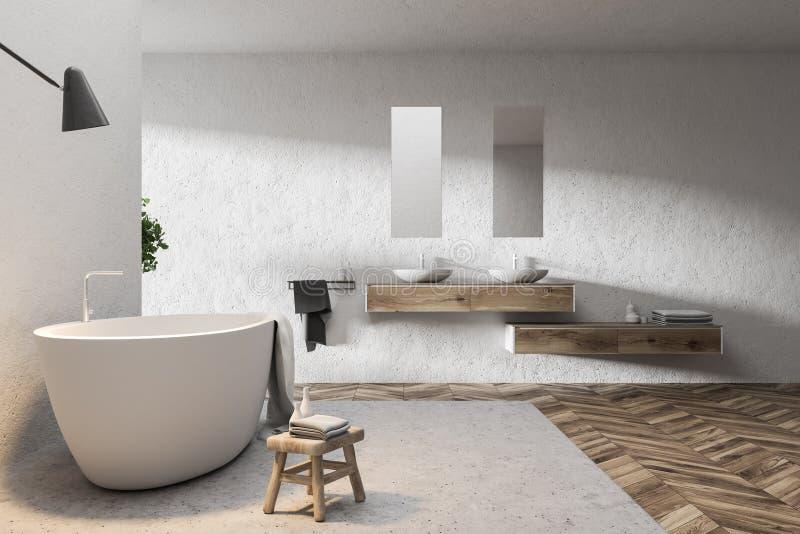 Интерьер ванной комнаты двойной раковины белый иллюстрация вектора