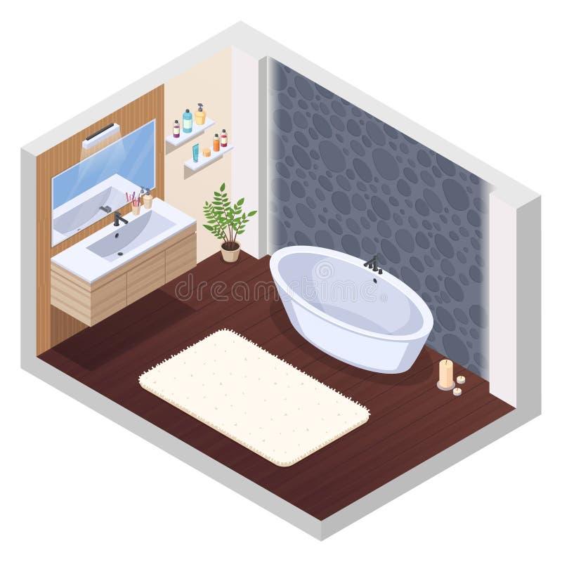 Интерьер ванной комнаты джакузи бесплатная иллюстрация