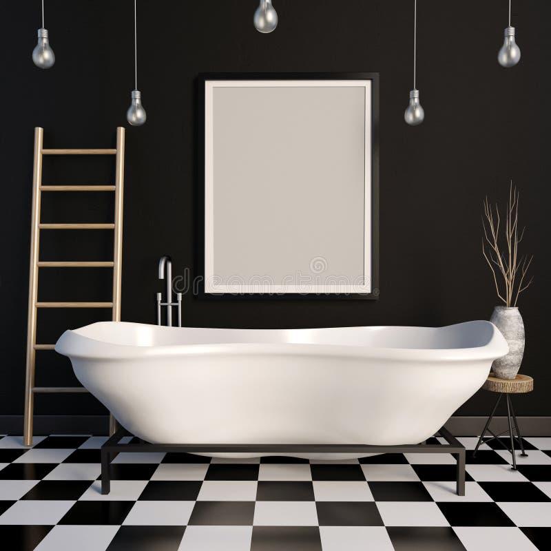 Интерьер ванной комнаты Насмешка рамки вверх иллюстрация 3d бесплатная иллюстрация