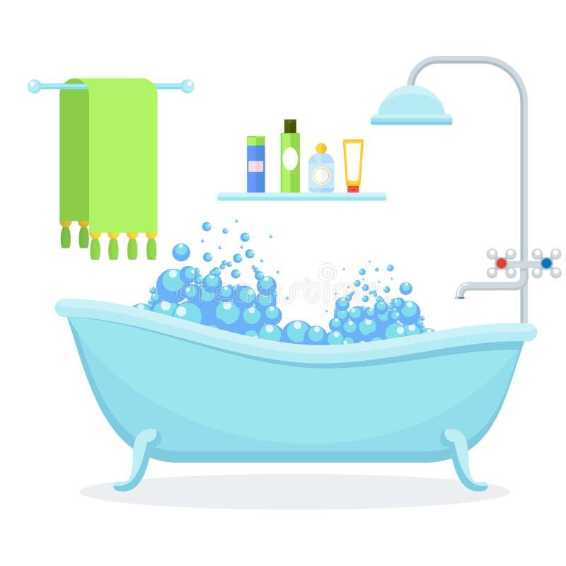 Интерьер ванной комнаты на белизне иллюстрация вектора