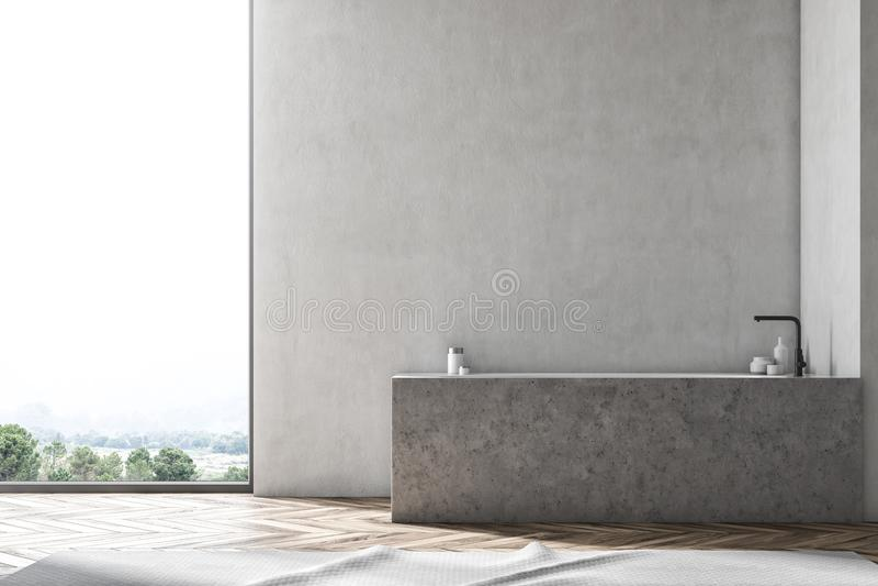 Интерьер ванной комнаты просторной квартиры, мраморный ушат иллюстрация штока