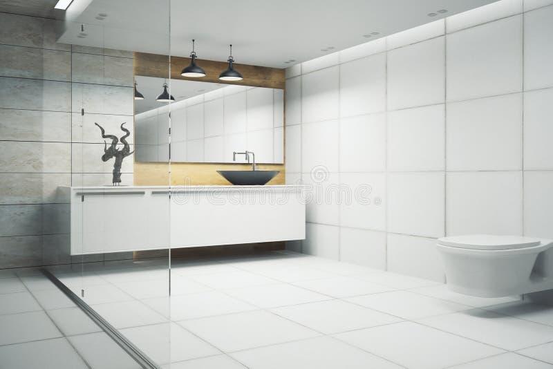 Интерьер ванной комнаты просторной квартиры иллюстрация штока