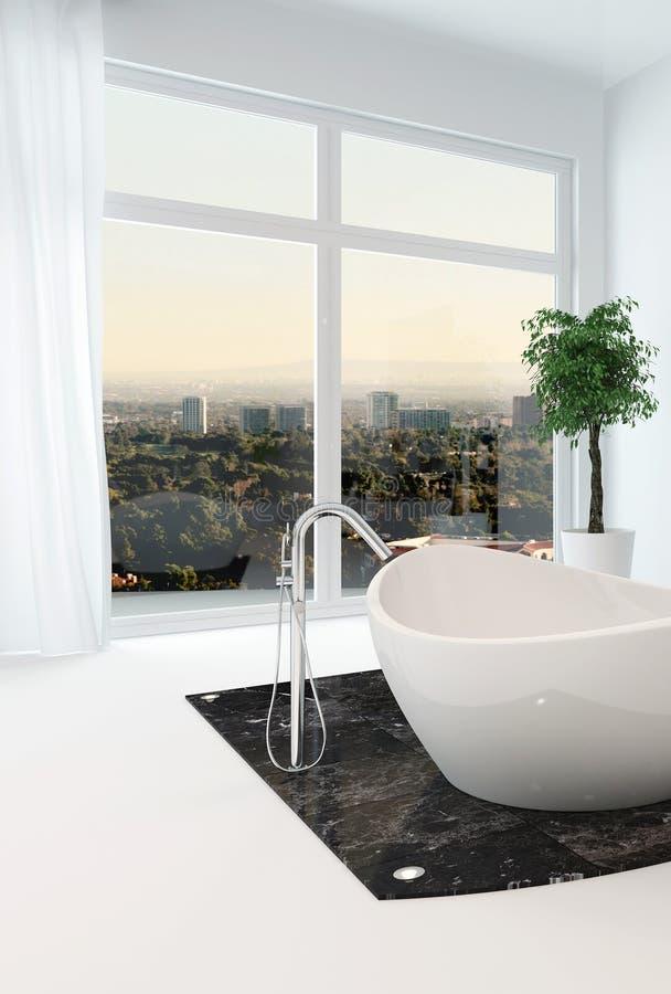 Интерьер ванной комнаты с славной freestanding ванной иллюстрация штока