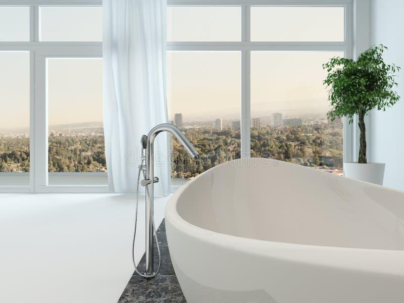 Интерьер ванной комнаты с славной freestanding ванной иллюстрация вектора