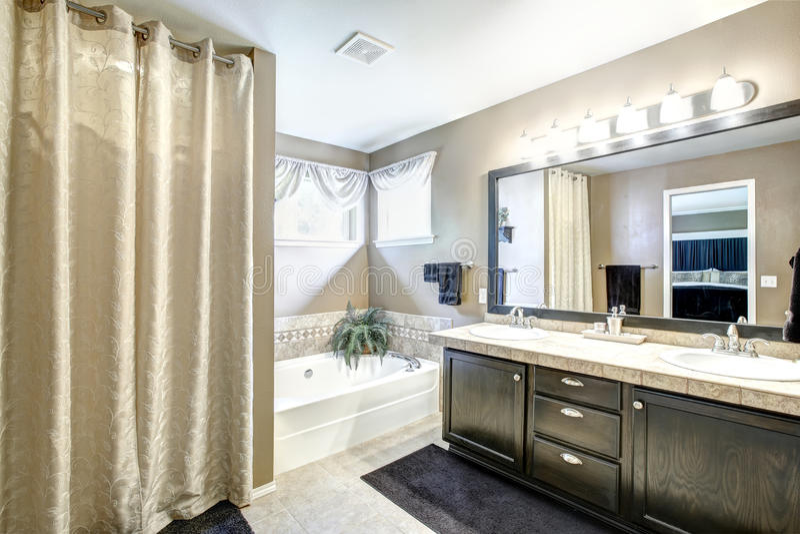 Интерьер ванной комнаты с черным шкафом и большим зеркалом стоковое изображение rf