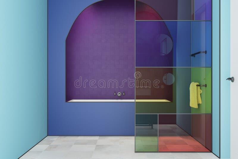 Интерьер ванной комнаты цветного стекла сини, ушат бесплатная иллюстрация
