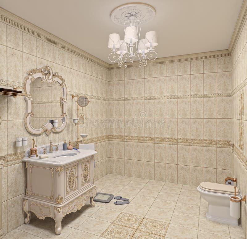 интерьер ванной комнаты иллюстрация штока