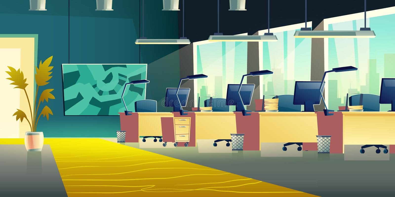 Интерьер вектора мультфильма залы офиса Coworking бесплатная иллюстрация