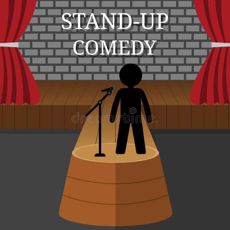 Интерьер вектора стоячей комедии Человек или женщина выполняют на этапе Сцена театра с красными занавесами и серой кирпичной стен бесплатная иллюстрация