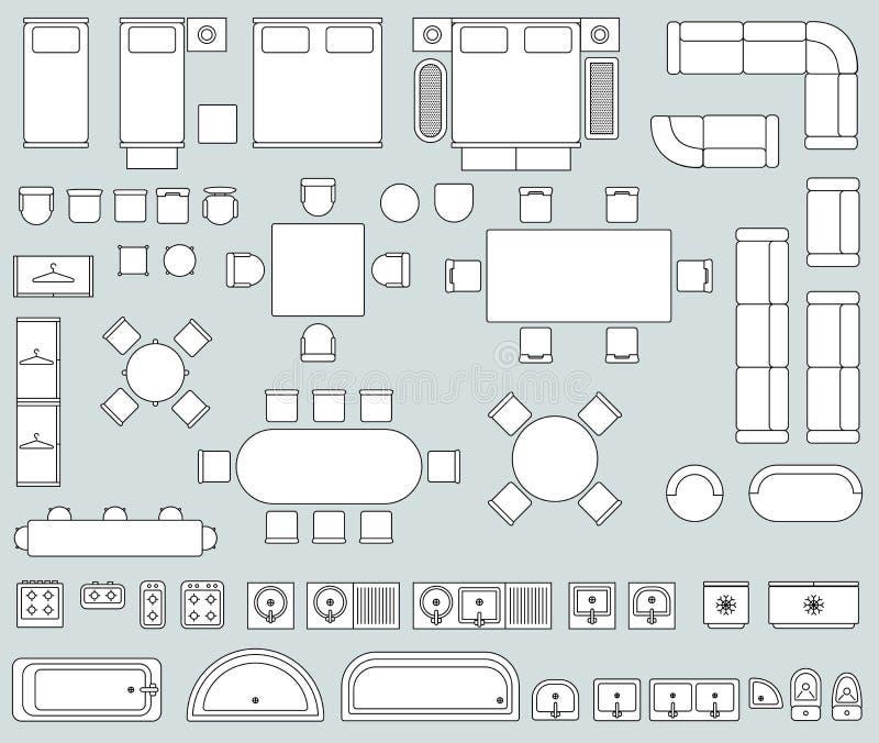 Интерьер взгляд сверху с линией комплектом вектора значков мебели иллюстрация штока