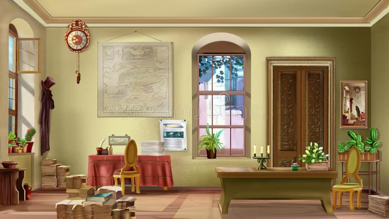 Интерьер винтажной комнаты на солнечный день иллюстрация вектора