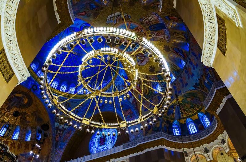 Интерьер военноморского собора St Nicholas в Kronstadt стоковая фотография