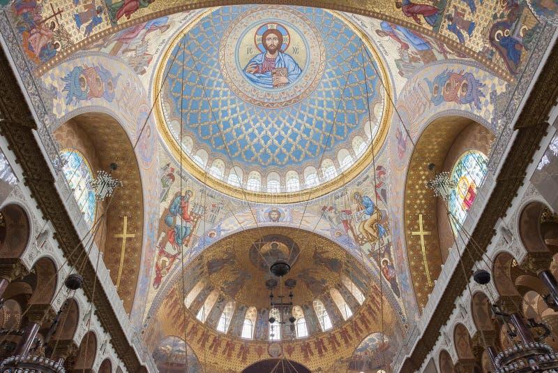 Интерьер военноморского собора St Nicholas в Kronstadt, стоковое фото