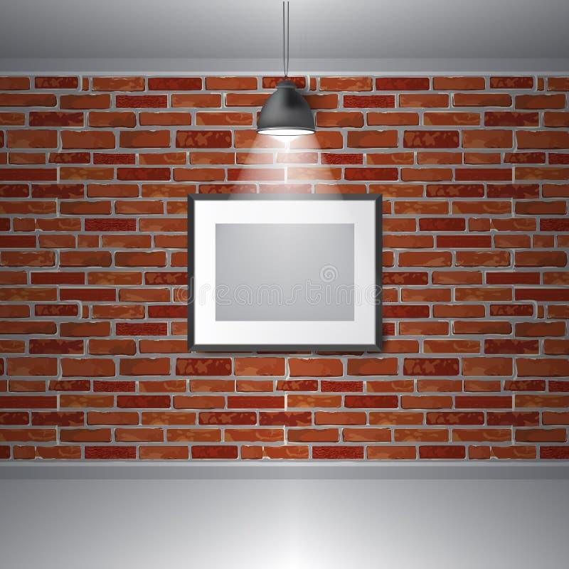 Интерьер выставки галереи вектора Картинные рамки на кирпичной стене иллюстрация вектора
