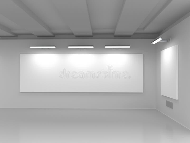 Интерьер выставочного зала с пустым космосом иллюстрация штока