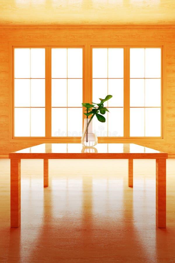 Интерьер в деревянном стиле Цветок на таблице иллюстрация штока
