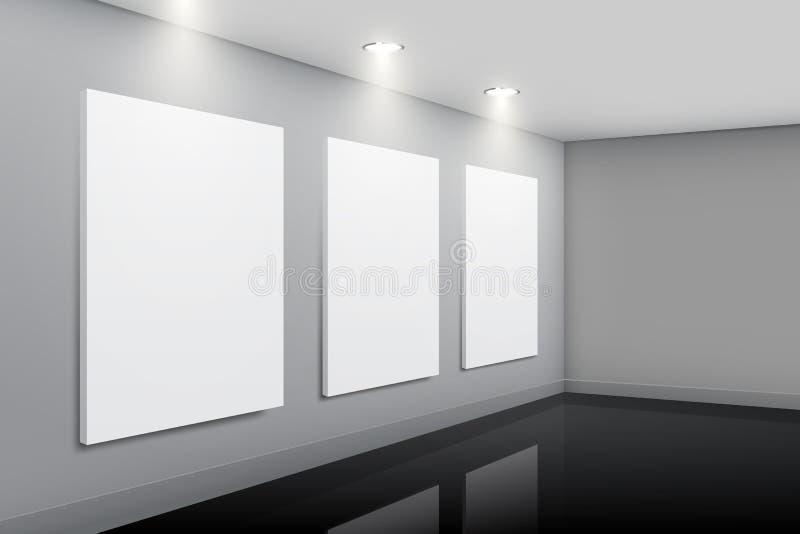 Интерьер галереи с пустыми изображениями иллюстрация вектора