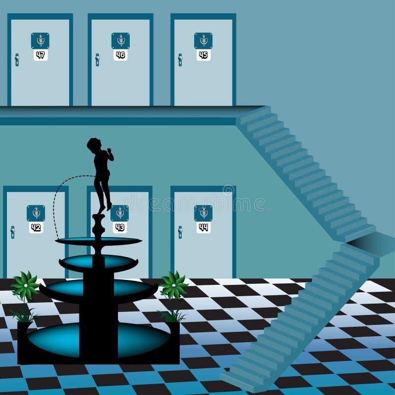 интерьер гостиницы иллюстрация вектора