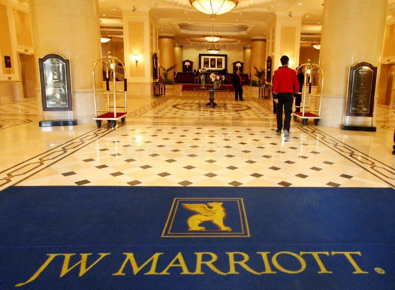 Интерьер гостиницы Marriott стоковая фотография rf