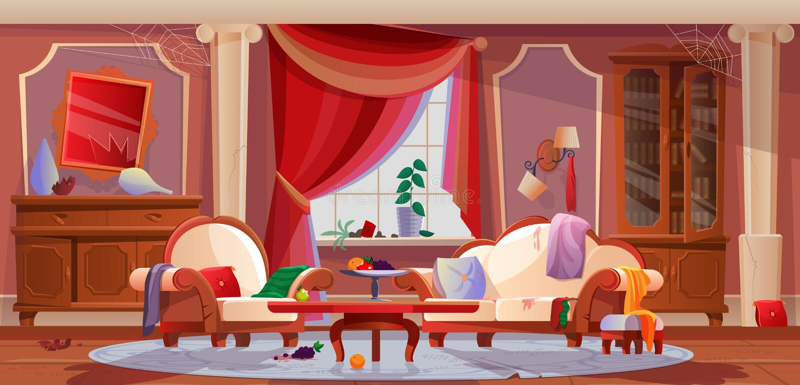 Интерьер грязной, живущей комнаты, с поврежденной мебелью, внутренние детали иллюстрация штока
