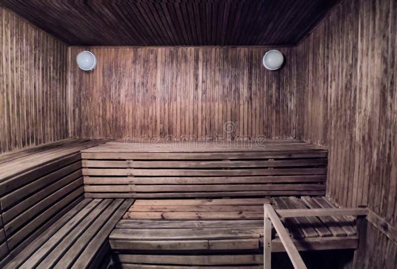 Интерьер деревянных ванны или сауны стоковая фотография rf