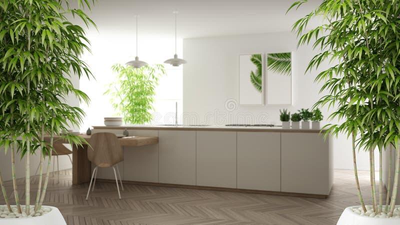 Интерьер дзэна с в горшке бамбуковым заводом, естественной конструктивной схемой дизайна интерьера, минималистской белой кухней с бесплатная иллюстрация