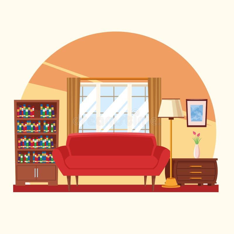 Интерьер дома с мебелью иллюстрация штока