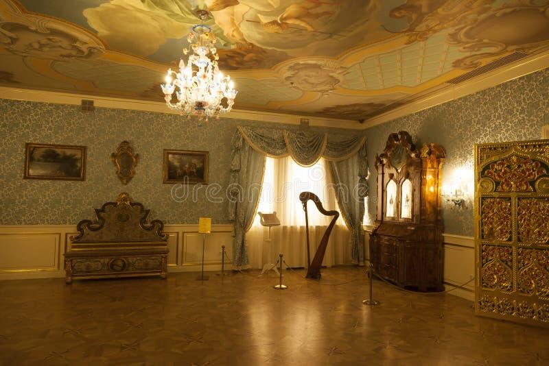 Интерьер деревянного дворца царя Alexei Mikhailovich в Kolomenskoye стоковое фото