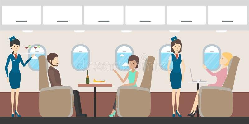 Интерьер дела самолета иллюстрация штока