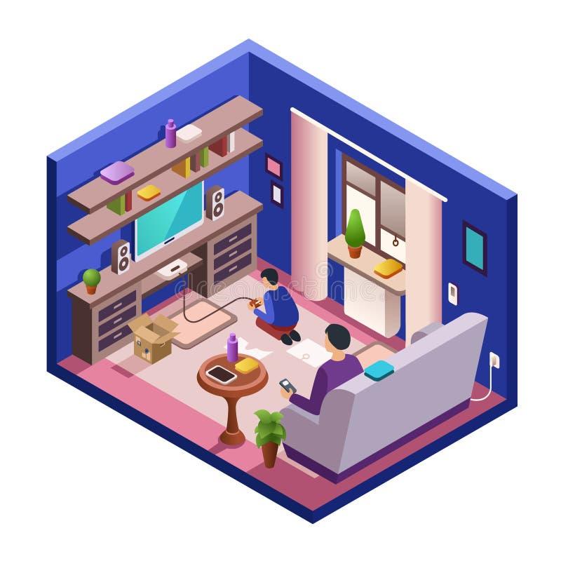 Интерьер живущей комнаты вектора равновеликий с людьми иллюстрация штока