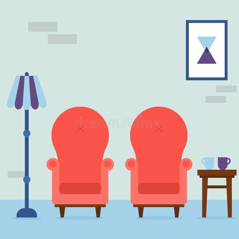 Интерьер живущей комнаты Винтажные уютные красные кресла, абстрактное изображение, лампа и стул с чашками в комнате Внутренние эл иллюстрация штока