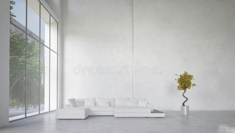 Интерьер живущей комнаты двойного тома просторный бесплатная иллюстрация