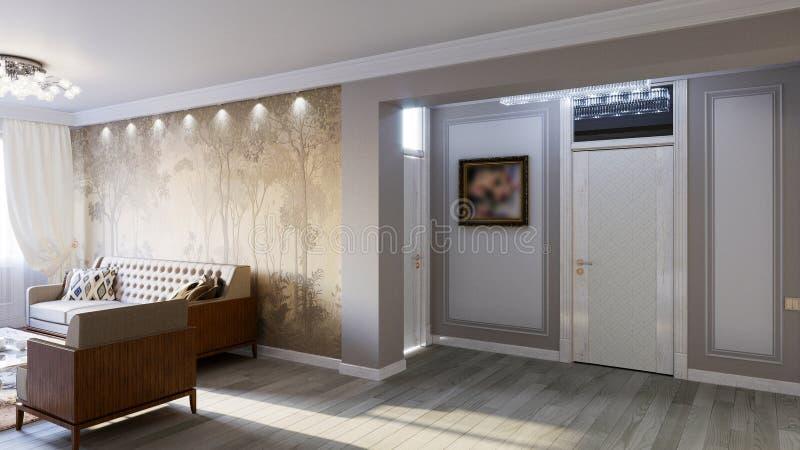 Интерьер живущей комнаты в сером цвете тонизирует иллюстрацию 3D стоковые фото