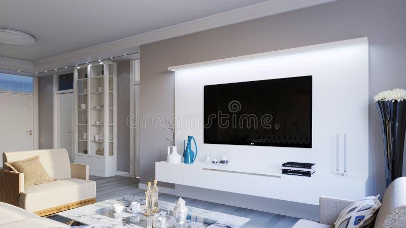 Интерьер живущей комнаты в сером цвете тонизирует иллюстрацию 3D стоковые изображения