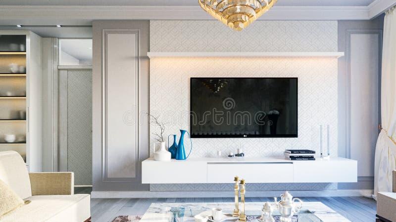 Интерьер живущей комнаты в сером цвете тонизирует иллюстрацию 3D стоковые изображения rf