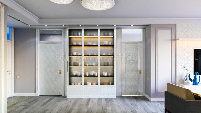 Интерьер живущей комнаты в сером цвете тонизирует иллюстрацию 3D стоковое фото