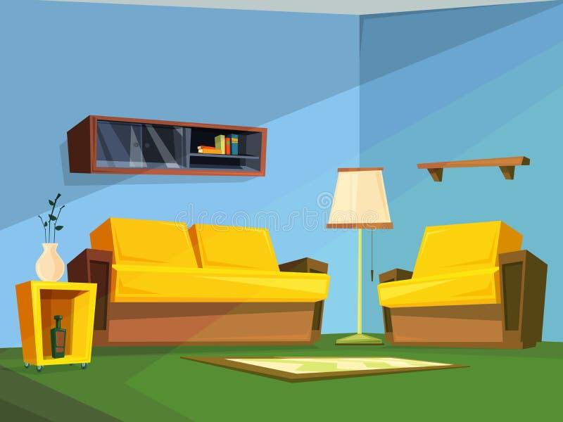Интерьер живущей комнаты в стиле шаржа бесплатная иллюстрация
